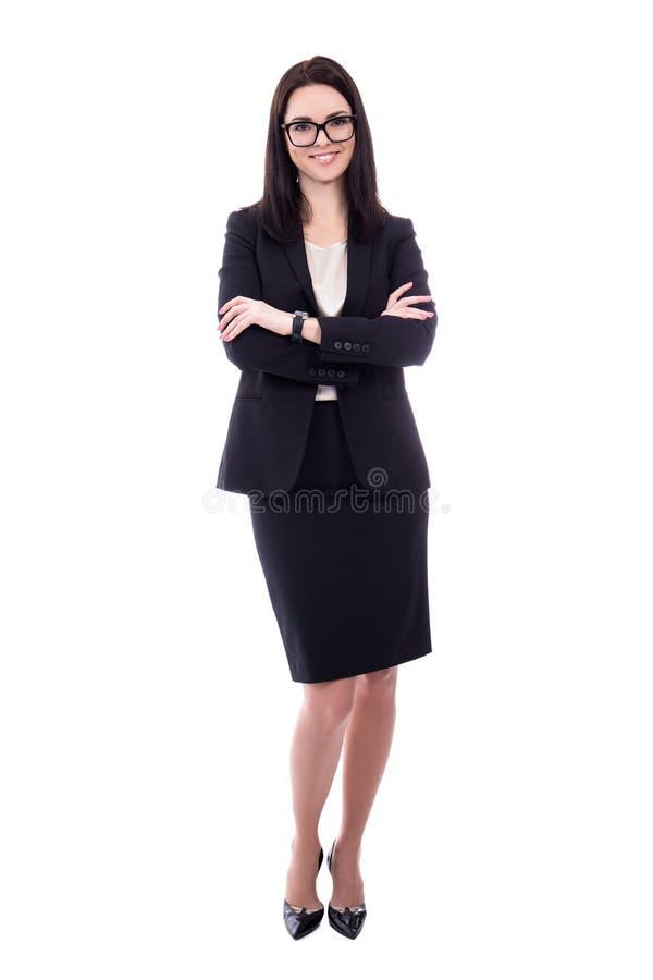 Volledig lengteportret van jonge geïsoleerde vrouw in pak stock afbeelding