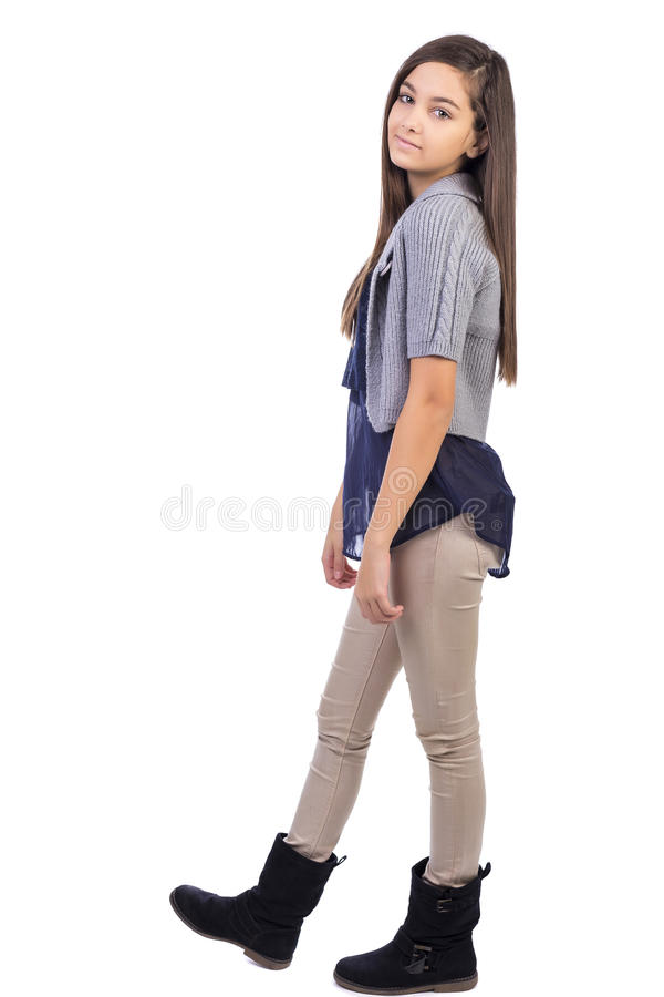 Volledig lengteportret van mooi glimlachend meisje stock afbeelding