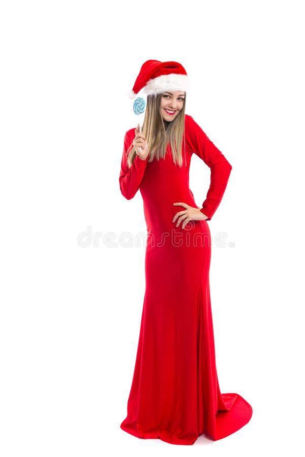 Volledig lengteportret van mooi meisje in lange rode kleding met sa royalty-vrije stock afbeelding