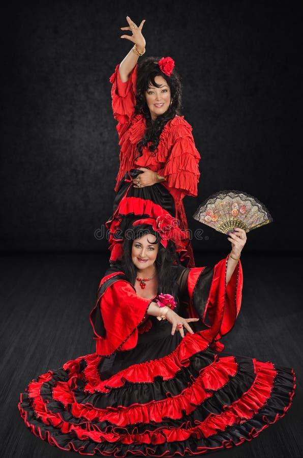 Volledig lengteportret van twee Spaanse dansers royalty-vrije stock foto