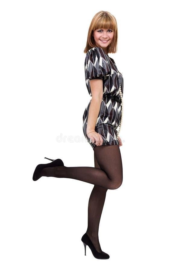 Volledig lengteschot van sexy vrouw in weinig die kleding, op wit wordt geïsoleerd royalty-vrije stock afbeeldingen