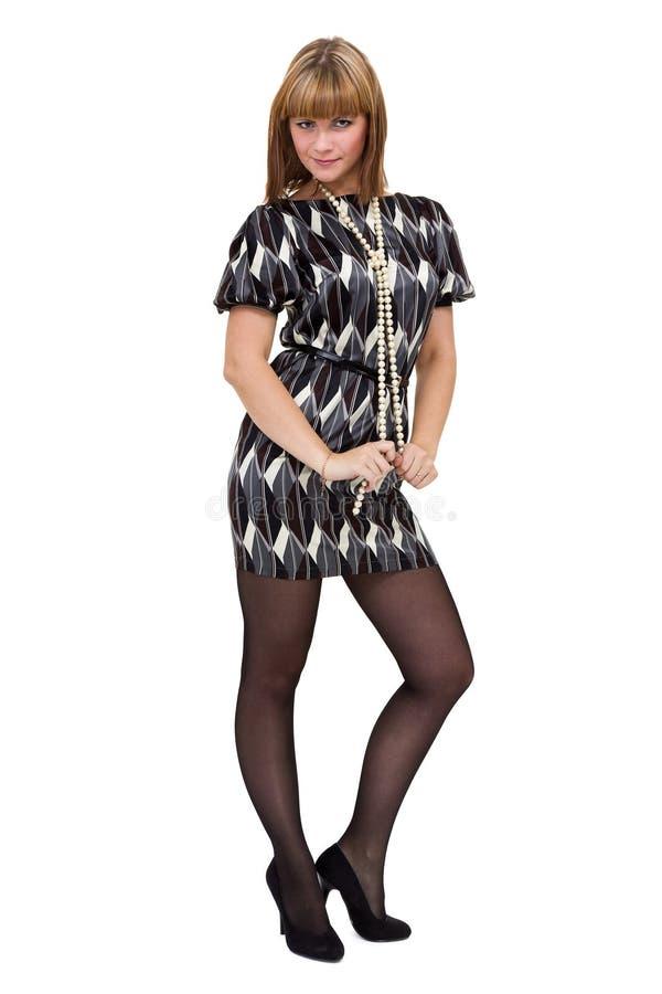 Volledig lengteschot van sexy vrouw in weinig die kleding, op wit wordt geïsoleerd stock afbeelding