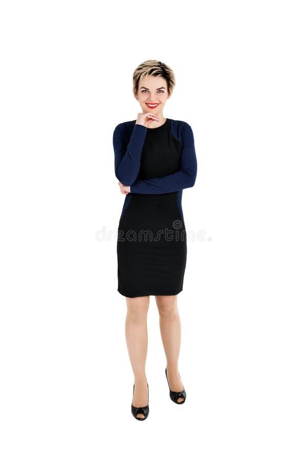 Volledig lichaam van vrolijke mooie bedrijfsvrouw royalty-vrije stock foto's