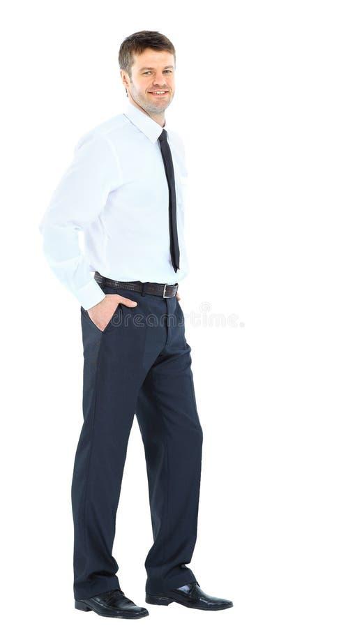 Volledig lichaamsportret van de gelukkige glimlachende jonge bedrijfsmens stock afbeelding