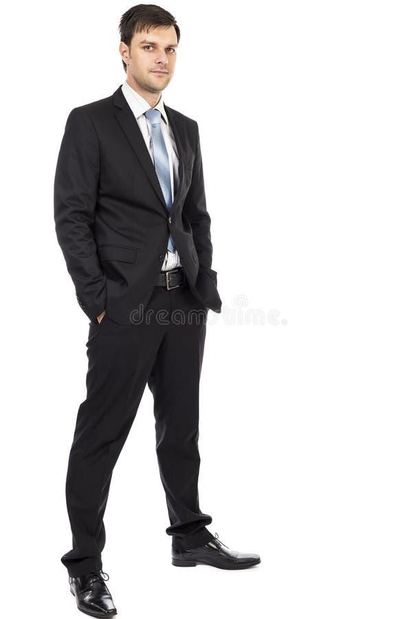 Volledig lichaamsportret van de jonge bedrijfsmens stock foto's