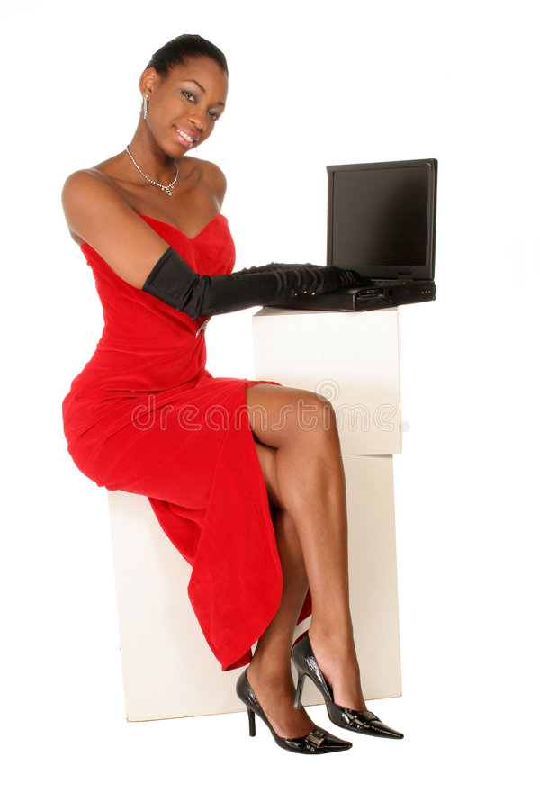 Volledig - mening van dame op laptop stock foto