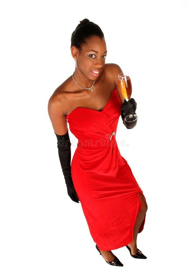 Volledig - mening van een meisje met een glas wijn royalty-vrije stock afbeeldingen