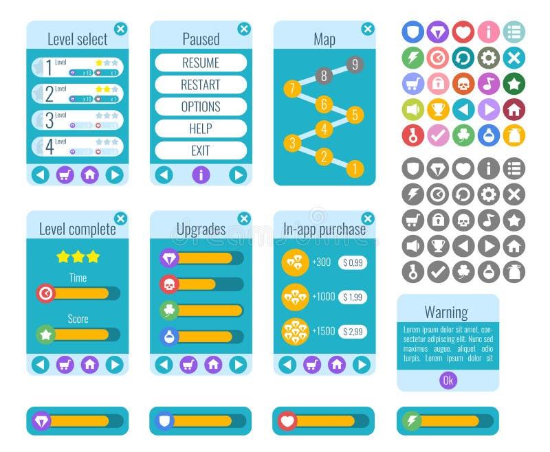 Volledig Menu van Grafisch Gebruikersinterface GUI royalty-vrije illustratie