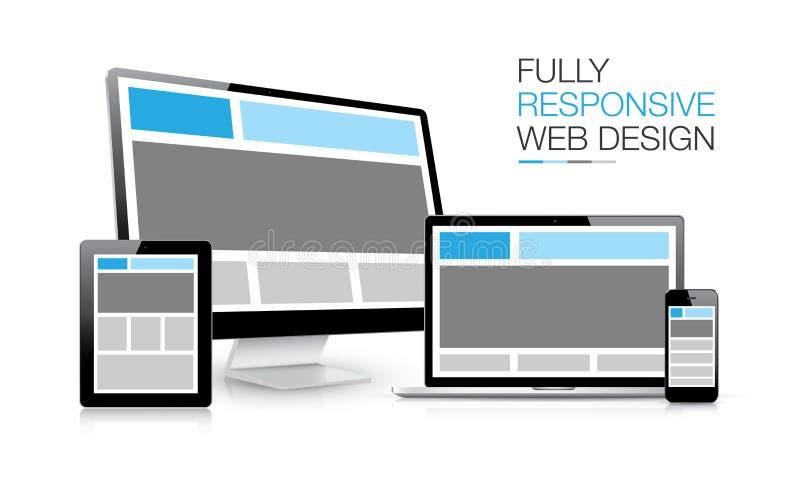 Volledig ontvankelijke elektronische de apparatenillustratie van het Webontwerp vector illustratie