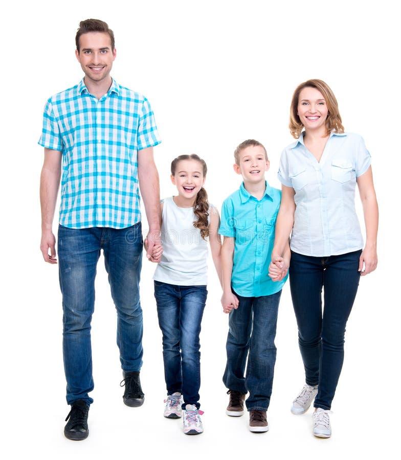 Volledig portret van de gelukkige Europese familie met kinderen stock afbeelding