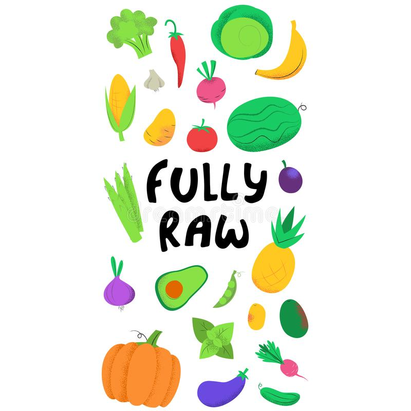 Volledig ruwe banner met groenten vector illustratie