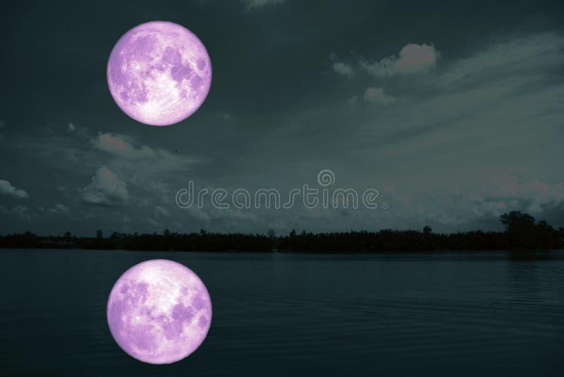volledige bloedmaan op overzees en de oceaan lichte wolk van het hemelsilhouet stock foto