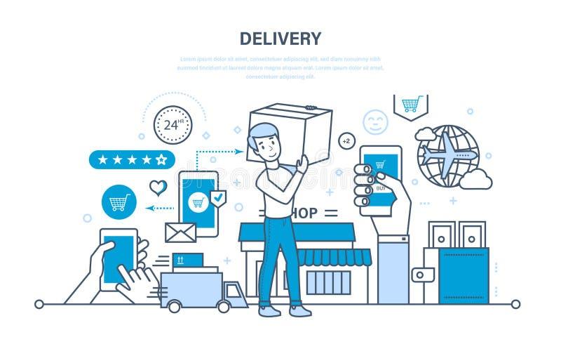 Volledige cyclus van het opdracht geven tot, aankoop van goederen, levering, vervoersproducten vector illustratie