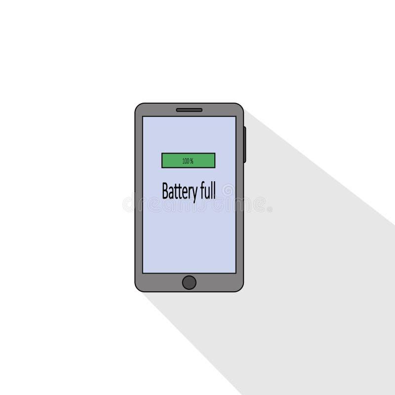 Volledige de batterij vlakke stijl van Smartphone Vector illustratie stock illustratie