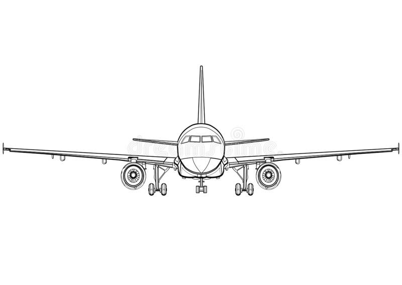 Volledige gezicht van de vliegtuigen het lineaire zwart-witte tekening, vliegtuig vooraanzicht, vliegtuigpictogram, overzichtssch royalty-vrije illustratie