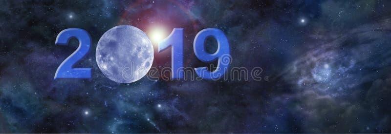 Volledige Januari-maan in de Websitekopbal van 2019 royalty-vrije stock afbeeldingen