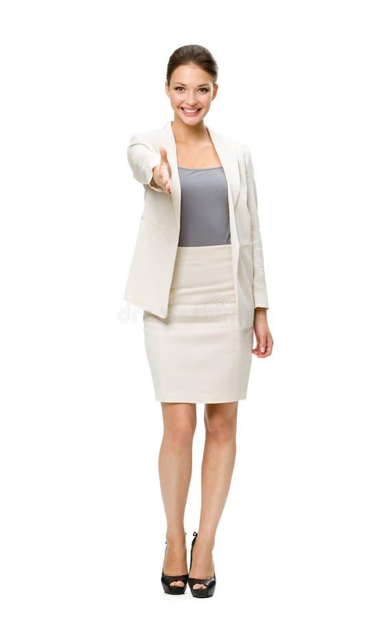 Volledige lengte van bedrijfsvrouwenhandenschudden stock foto's