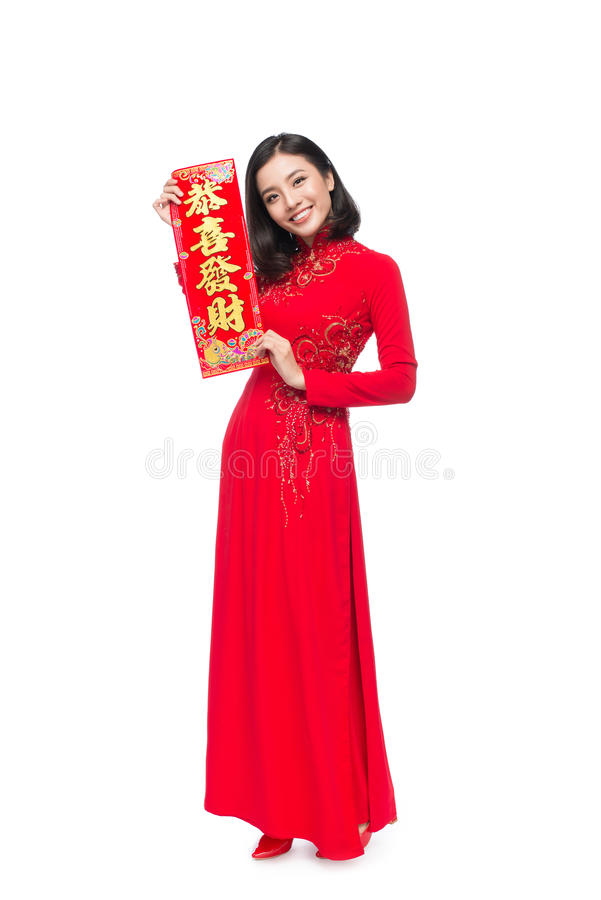 Volledige lengte van een mooie Aziatische vrouw op traditioneel festival c royalty-vrije stock fotografie