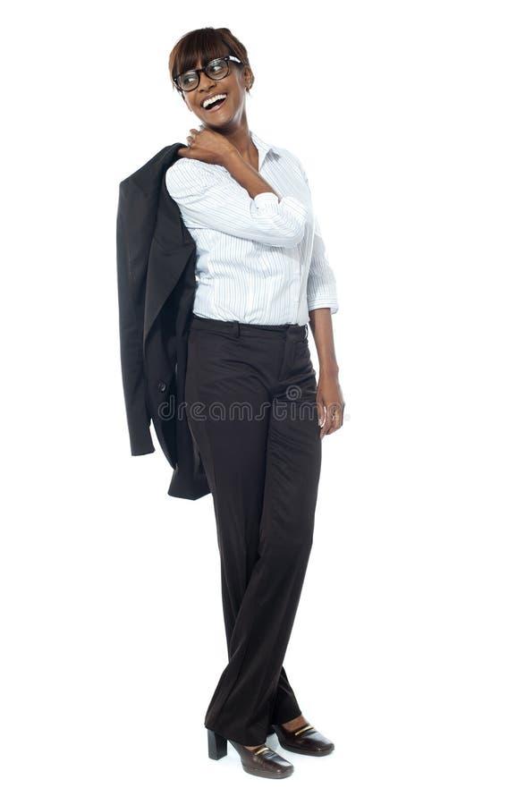 Volledige lengte van een vrouwelijke bedrijfmanager royalty-vrije stock fotografie
