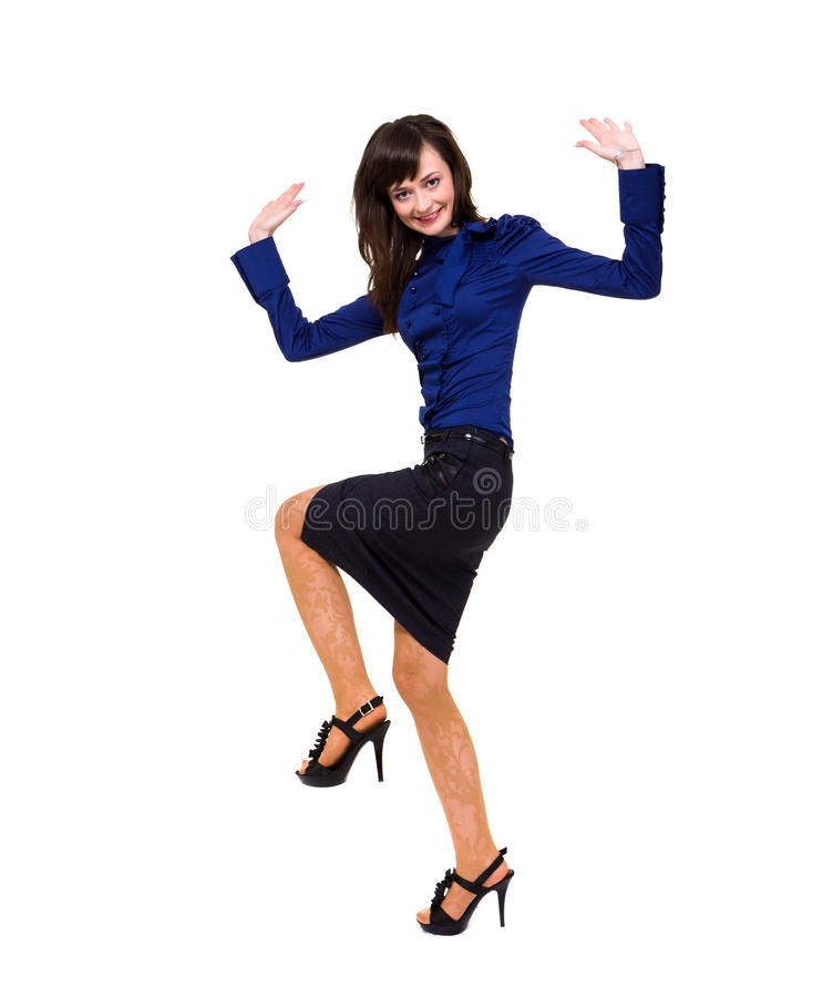 Volledige lengte van het glimlachen het jonge bedrijfsvrouw dansen royalty-vrije stock afbeelding