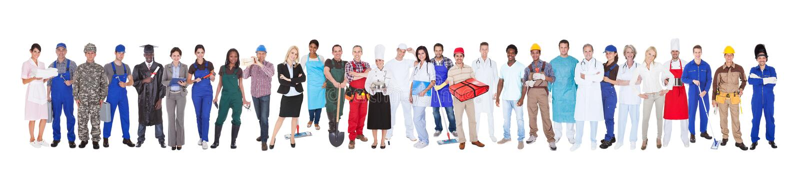 Volledige lengte van mensen met verschillende beroepen royalty-vrije stock afbeelding