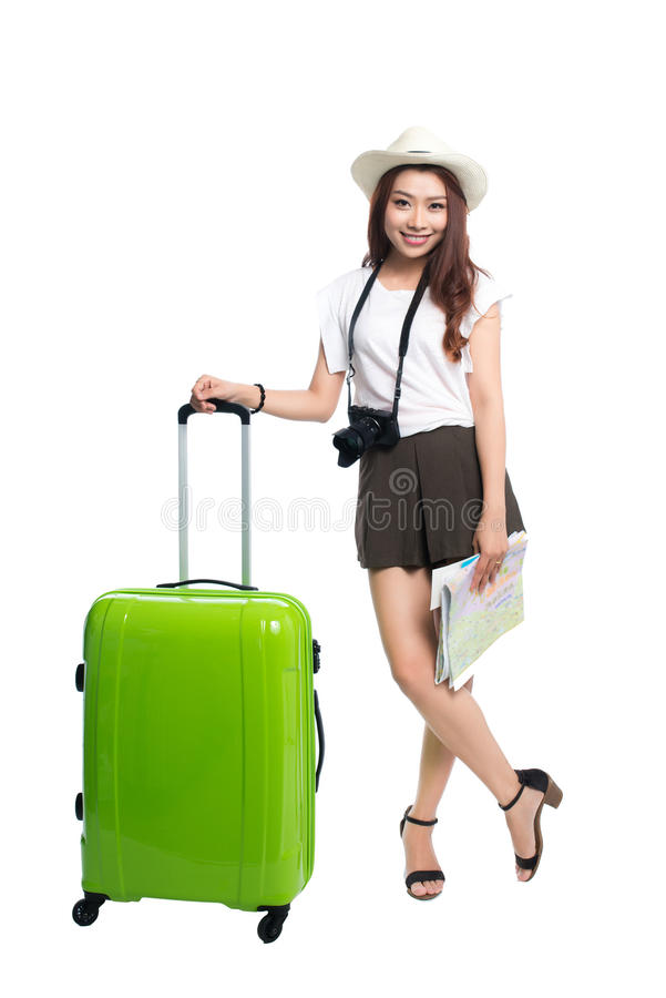 Volledige lengte van mooie Aziatische jonge vrouw klaar om durin te reizen royalty-vrije stock afbeelding