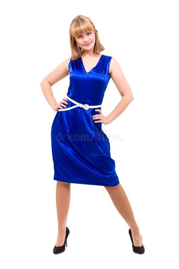 Volledige lengte van sensuele vrouw in blauwe kleding royalty-vrije stock afbeeldingen