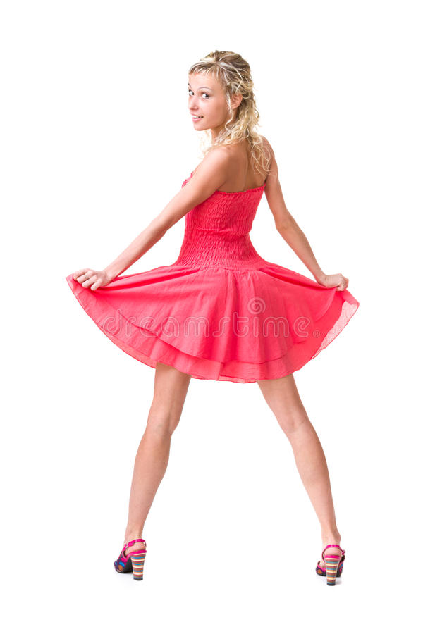Volledige lengte van sensuele vrouw in korte kleding royalty-vrije stock foto