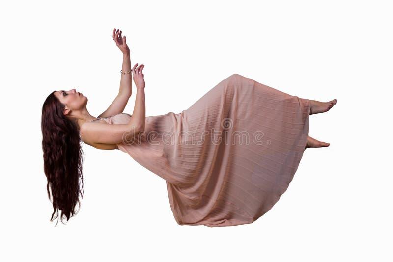 Volledige lengte van vrouw het vliegen royalty-vrije stock fotografie