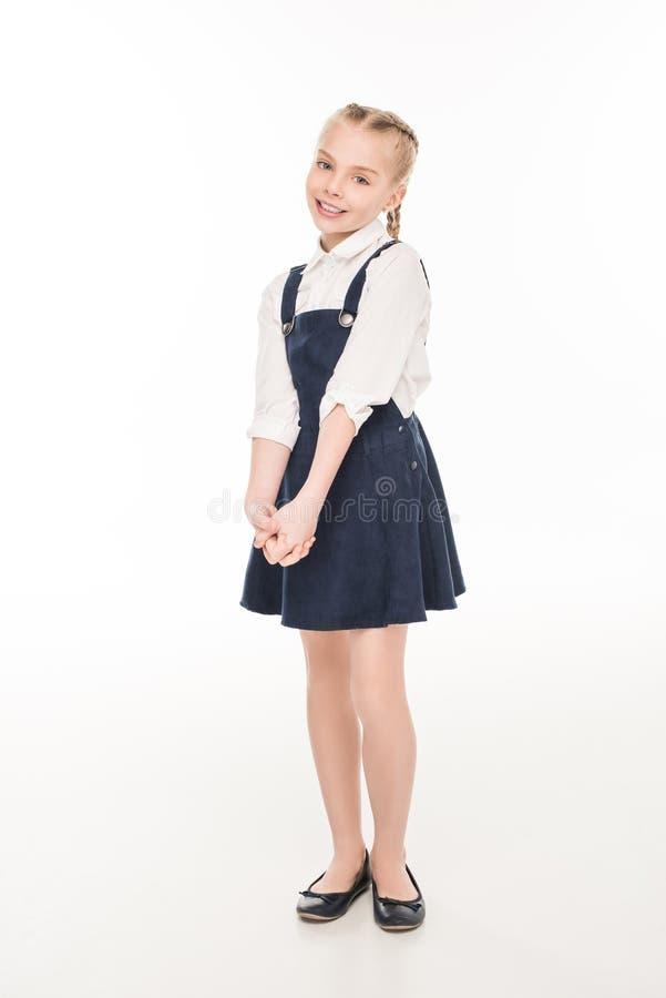 volledige lengtemening van het mooie meisje glimlachen bij camera royalty-vrije stock afbeelding