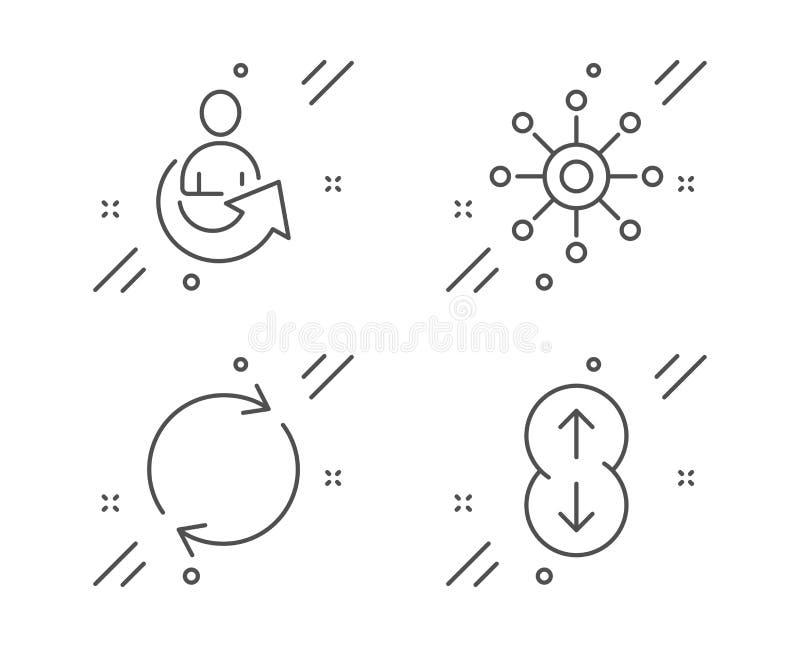 Volledige omwenteling, pictogrammen Met meerdere kanalen en geplaatste Aandeel Rol benedenteken Vector royalty-vrije illustratie