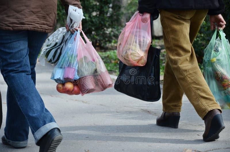 Volledige plastic zakken stock foto