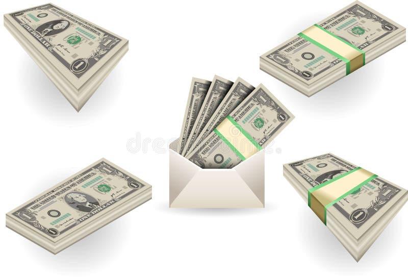 Volledige reeks van één dollarbankbiljetten royalty-vrije illustratie
