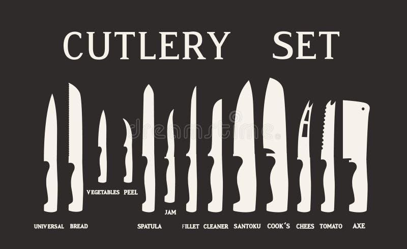 Volledige Reeks vlakke pictogrammen van keukenmessen met handtekeningsnamen Vector die op witte achtergrond wordt geïsoleerd royalty-vrije stock foto's