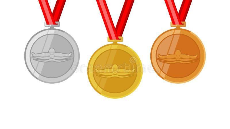 Volledige shinny medailles van de vlinder de zwemmende kampioen geplaatst gouden siver en brons in vlakke stijl stock illustratie