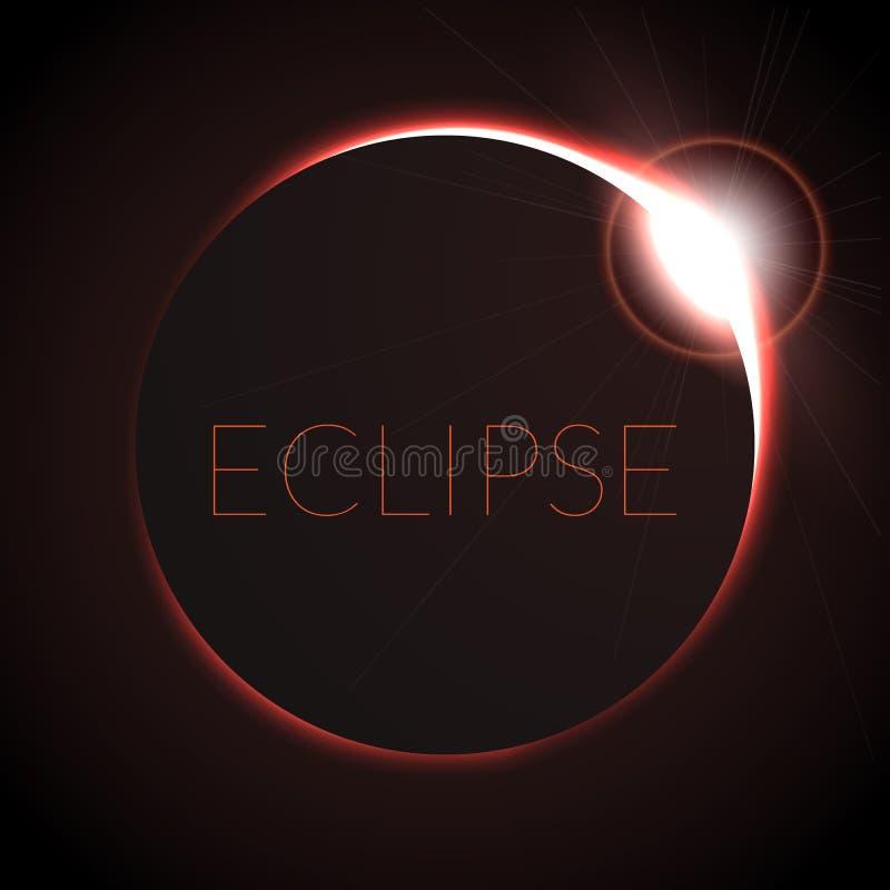 Volledige verduisterings vectorillustratie Verduistering met ring van zon in diepe ruimte Volledige Zonneeclipce stock illustratie