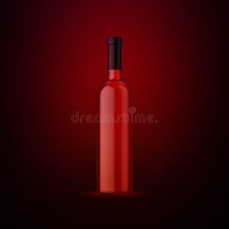Volledige whiskyfles op donkerrode achtergrond Product het ontwerp van het verpakkingsmerk Spot op drank met plaats voor u etiket vector illustratie