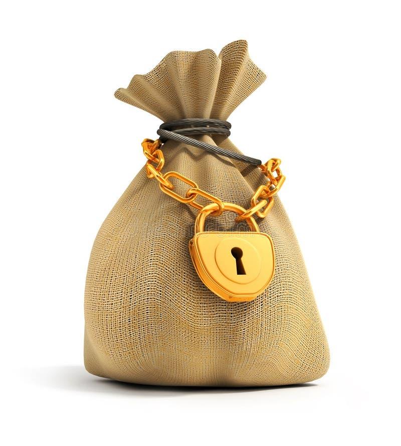 Volledige zak die door gouden slot wordt gesloten royalty-vrije stock afbeeldingen