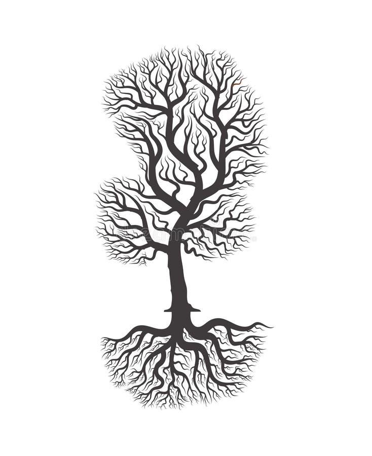 Volledige zwarte boom drie met wortels royalty-vrije stock fotografie