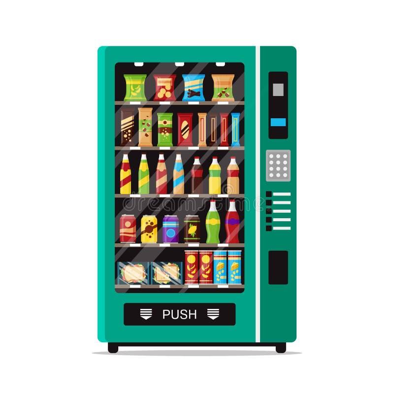 Voller Automat mit den Schnellimbisserfrischungen lokalisiert auf Weiß Vorderansicht der Automatverkäufermaschine automatisch stock abbildung