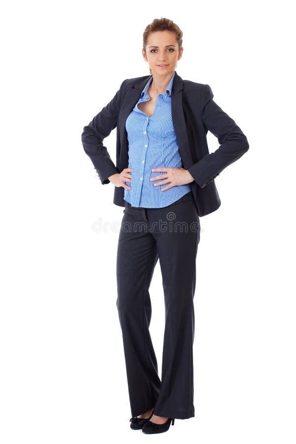 Voller Haltungseintragfaden der Busines Frau über Weiß lizenzfreie stockfotografie