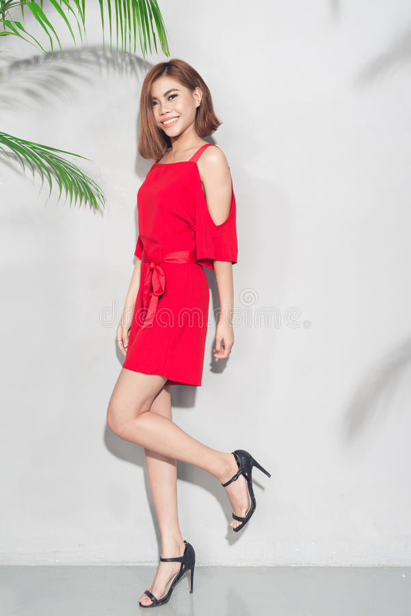Voller Körper des Modelebensstilporträts jungen asiatischen Frau lau stockbild