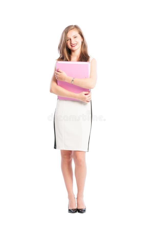 Voller Körper eines lächelnden Sekretärs lizenzfreies stockbild