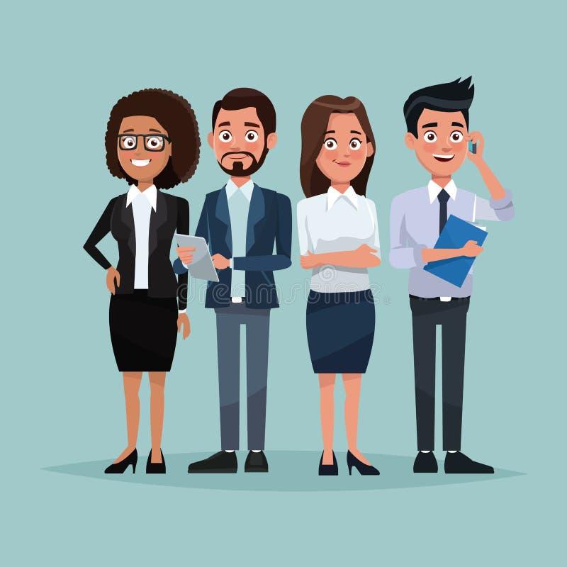 Voller Körpersatz des Farbhintergrundes Führungskräfte Mann und weibliche Figuren für Geschäft stock abbildung