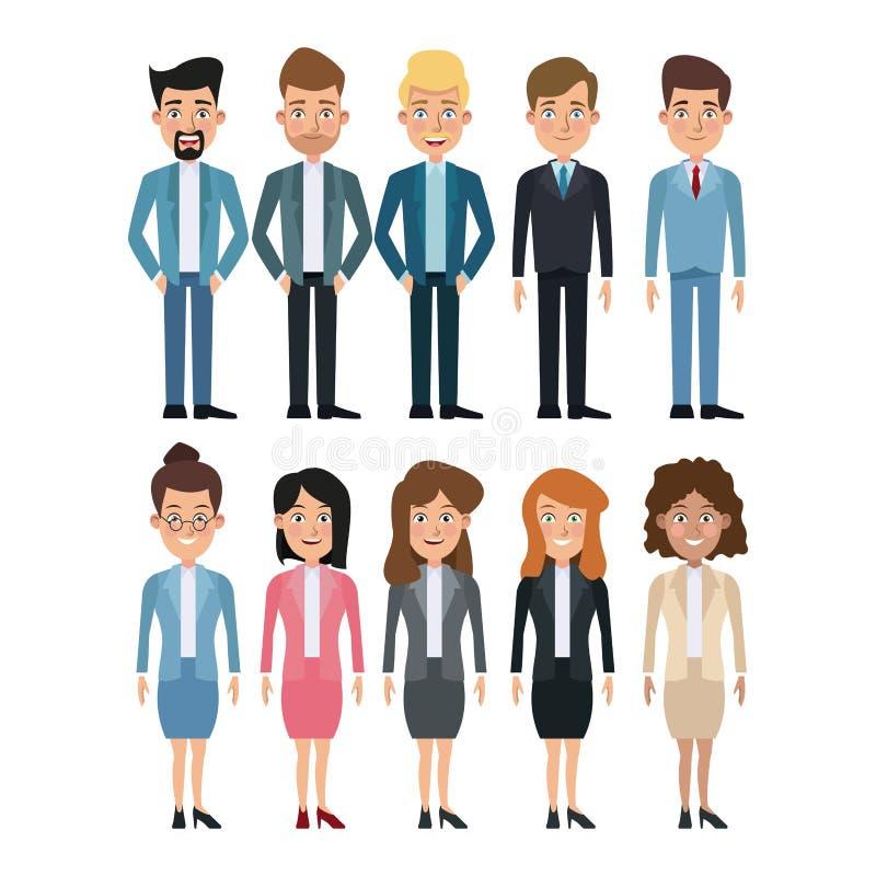 Voller Körpersatz des weißen Hintergrundes mehrfache Frauen- und Manncharaktere für Geschäft lizenzfreie abbildung