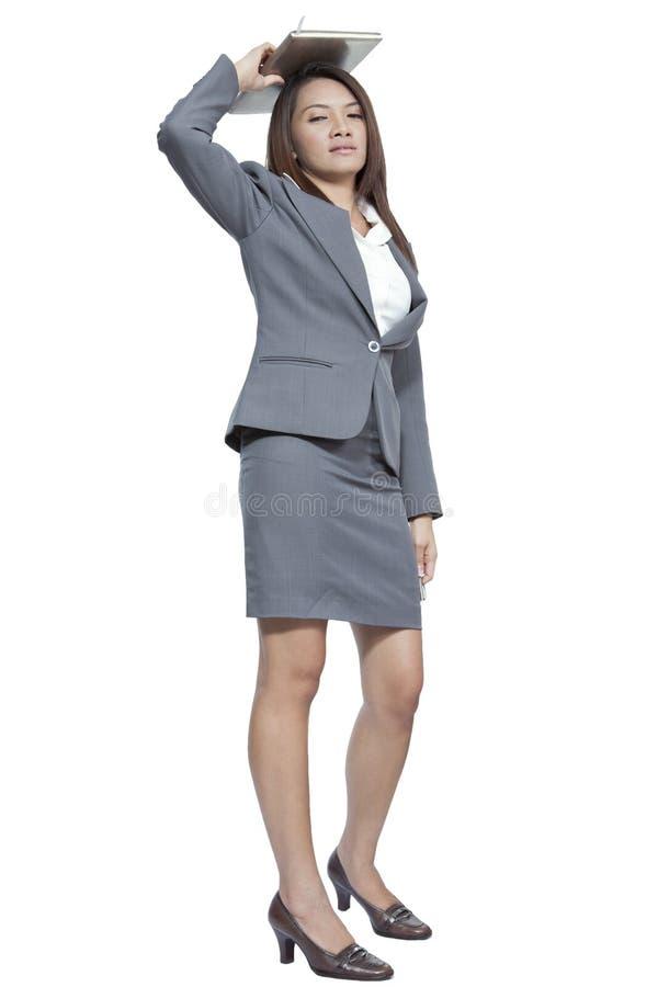 In voller Länge Gestenstift-Tagebuchanmerkung der Geschäftsfrau von der attraktiven stockbild