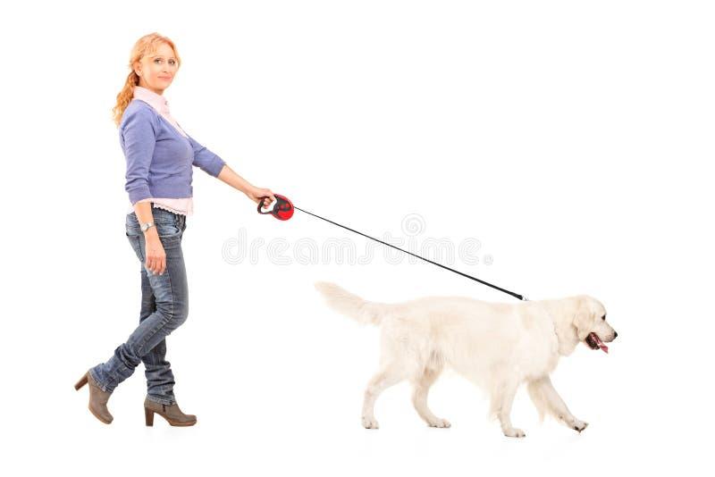 In voller Länge Portrait einer gehenden Frau ein Hund stockbilder