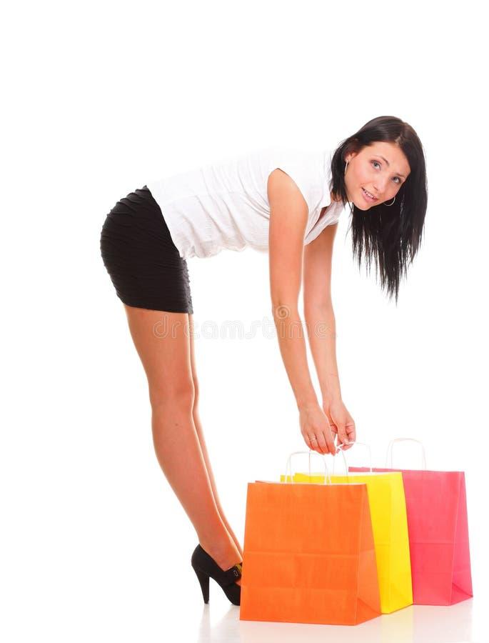 Download In Voller Länge Von Den Glücklichen Taschen Junger Dame Einkaufsgegen Getrennt Stockbild - Bild von modern, fashion: 27732111