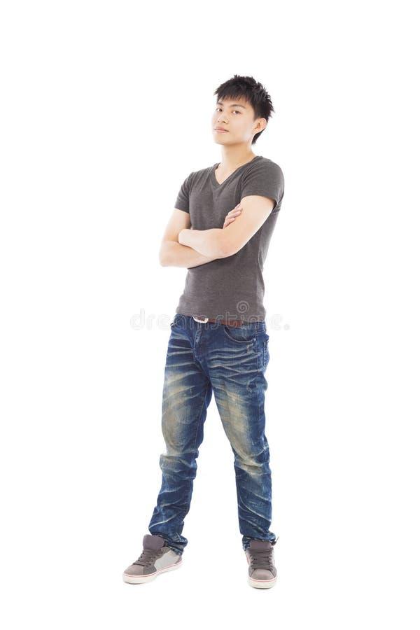 In voller Länge von junger gutaussehender Mann lokalisiertem Weiß lizenzfreie stockbilder