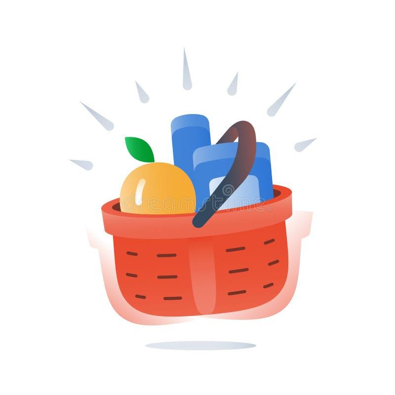 Voller roter Korb des Gemischtwarenladens des Lebensmittels, Sonderangebot, Supermarktversorgung, bester Abkommenkauf lizenzfreie abbildung